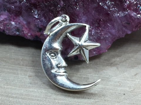 Moon and Star Charm, Moon Pendant, Celestial Charm, Sterling Silver, Necklace Charm, Necklace Pendant, PS06103