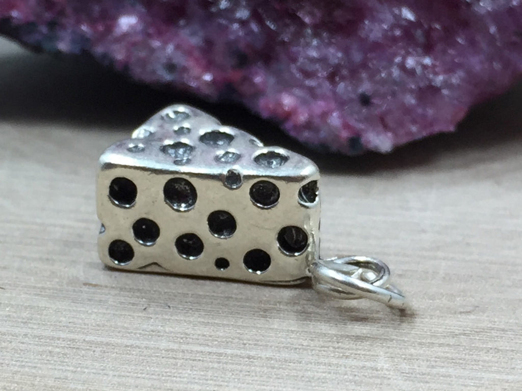 Cheese Charm, Cheese Wedge Charm, Cheese Lover, Kitchen Charm, Cook Charm, Food Charm, Sterling Silver, PS06108