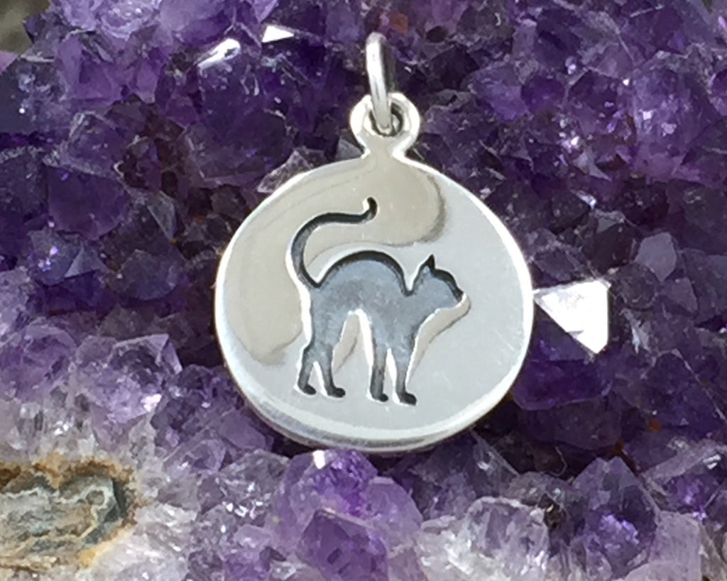Cat Charm, Black Cat Charm, Cat Disc Charm, Halloween Charm, Sterling Silver Charm,  PS01357