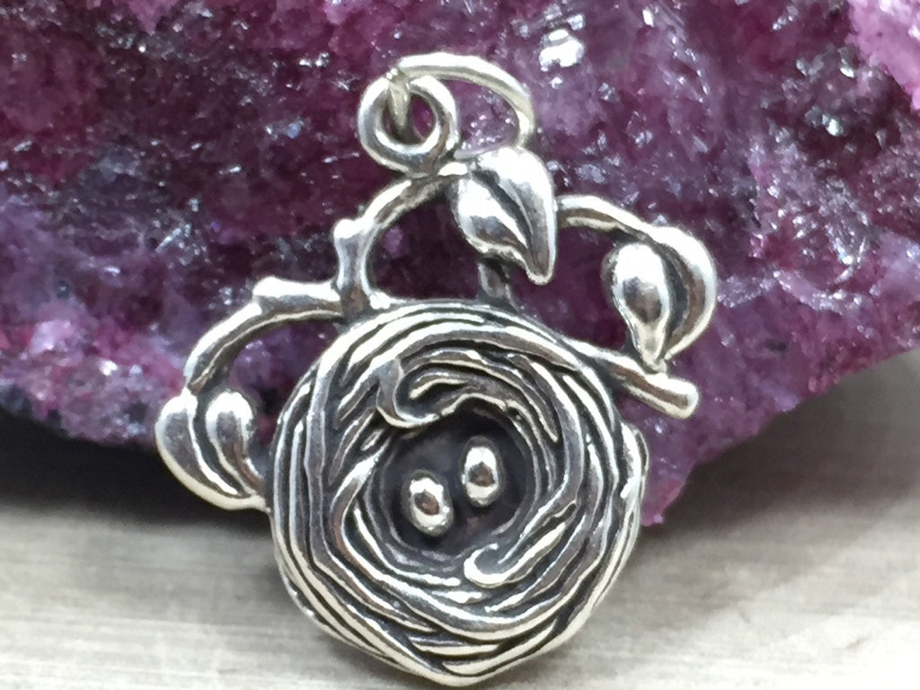 Birds Nest Charm, Nest with Eggs Charm, Bird Charm, Sterling Silver, PS06104