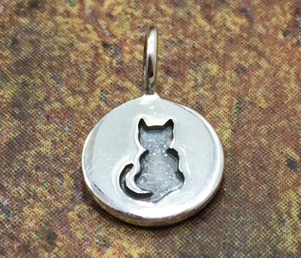 Cat Charm, Halloween Cat Charm, Black Cat Charm, Halloween Charm, Sterling Silver Charm,  PS01359