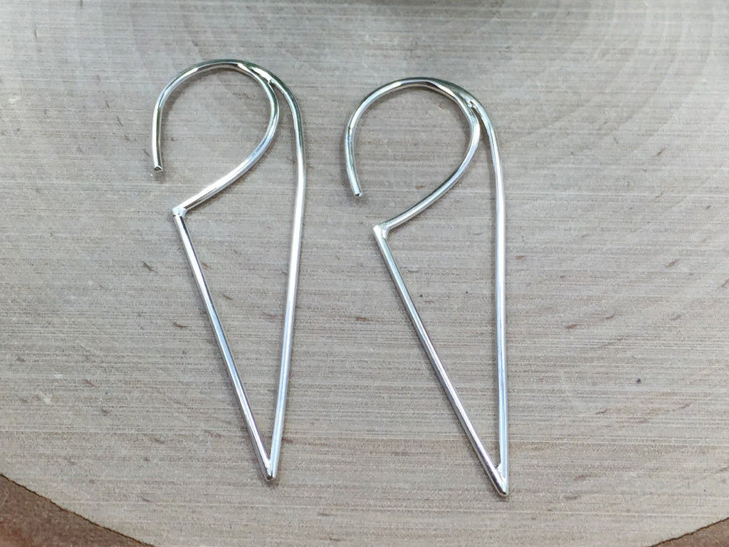 Ear Wires, Sterling Silver Ear Wires, Ear Wires, Earring Components, Jewelry Making Supplies, Triangle Hoop Ear Wires, 1 Pair