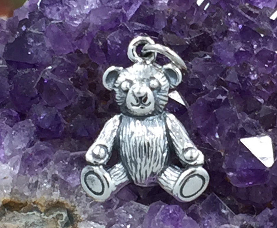 Teddy Bear Charm, Realistic Teddy Bear Charm, Stuffed Animal Charm, Baby Charm, Baby Pendant, New Baby Charm, Sterling Silver Charm, PS01365