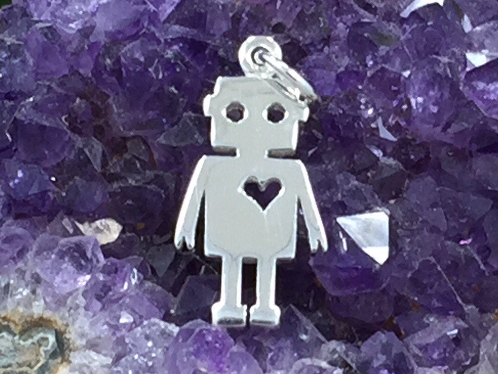 Robot Charm, Robot Love Charm, Boy Charm, Sterling Silver, PS01384