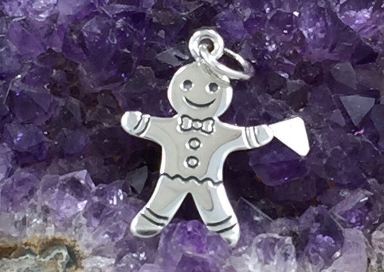 Gingerbread Man Charm, Sterling Silver Gingerbread Man Charm, Winter Charm, Christmas Charm, Christmas Cookie, Holiday Charm, PS01374