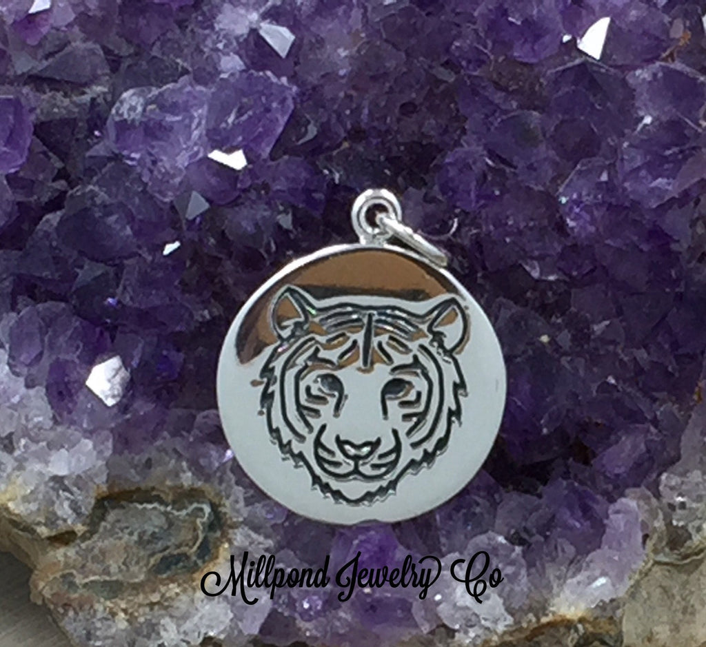 Tiger Charm, Tiger Pendant, Sterling Silver Charm, Sterling Silver Pendant, Tiger Power Charm, Tiger Disc Charm, PS01397