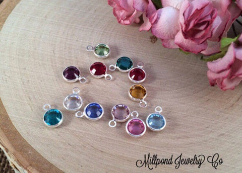 Birthstone Charms, Connector Charms, Bezel Set Birthstone Charms, Crystal Birthstones, Silver Plated, 120 Piece Set, 10 of Each Month