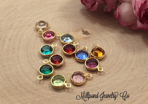 Birthstone Charms, Bezel Set Birthstone Charms, Crystal Birthstones, Gold Plated Birthstone Charms, 12 Pieces, 1 of Each Month