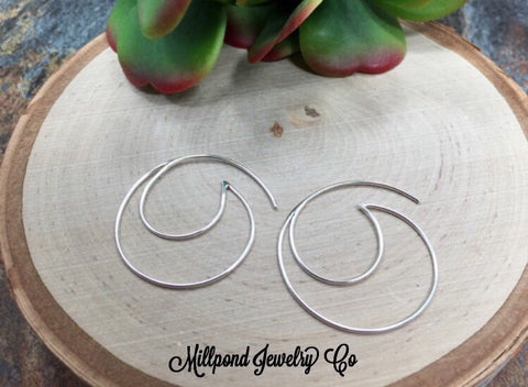 Ear Wires, Sterling Silver Ear Wires, Ear Wires, Earring Components, Jewelry Making Supplies, Wave Hoop Ear Wires, Jewelry Findings, 1 Pair