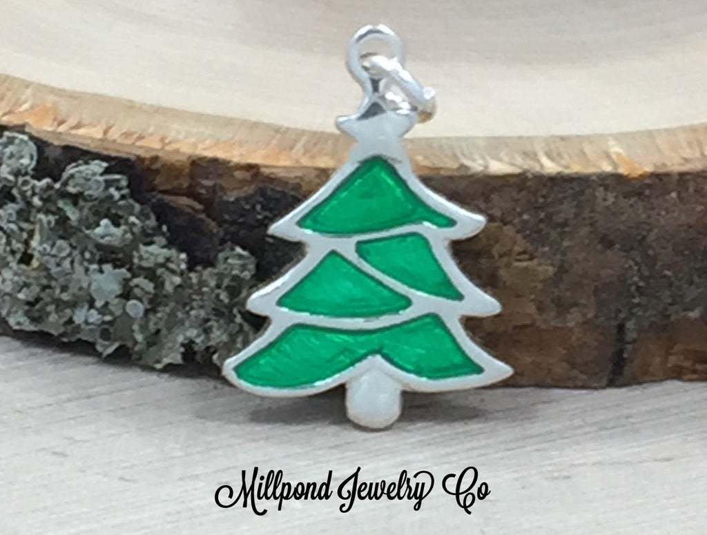 Christmas Tree Charm, Enamel Charm, Earring Components, Christmas Charm, Sterling Silver, Winter Charm, Merry Christmas Charm, PS3171