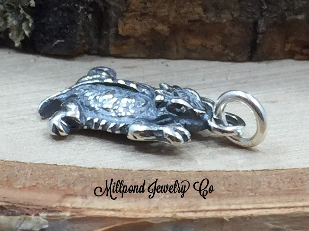 Horned Toad Charm, Horny Toad Charm, Sterling Silver Charm, Reptile Charm, Animal Lover, PS3164