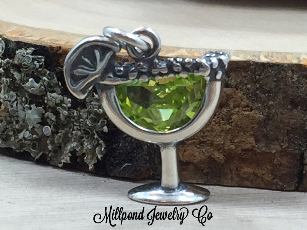 Margarita Charm, Drink Charm, Night Out on the Town, Girl's Night Charm, Sterling Silver Charm, Jewelry Supplies, PS3109