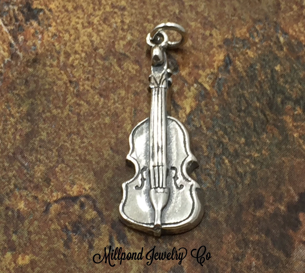 Violin Charm, Band Charm, Music Charm, Music Lover, Sterling Silver Charm, PS3183