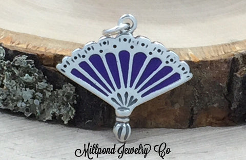 Hand Fan Charm, Fan Charm, Lady Charm, Sterling Silver, PS3117