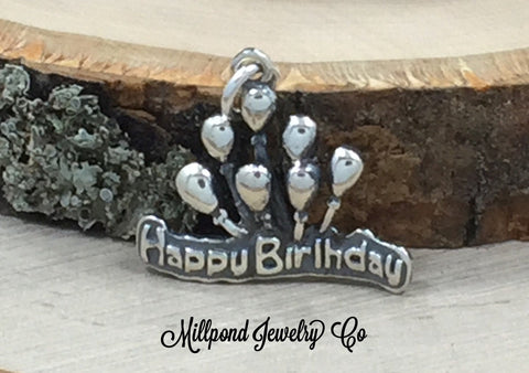 Happy Birthday Charm, Birthday Charm, Birthday Celebration, Sterling Silver, PS3141