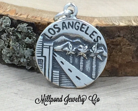 Los Angeles Charm, California Charm, Los Angeles Pendant, Sterling Silver Los Angeles Charm, Sterling Silver Charm, PS31104