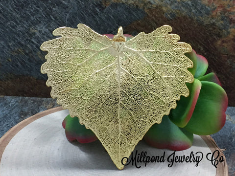 Cottonwood Leaf Pendant, Gold Dipped Cottonwood Leaf Pendant, Gold Cottonwood Leaf, Leaf Pendant, Nature Pendant, LARGE