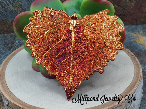 Cottonwood Leaf Pendant, Copper Dipped Cottonwood Leaf Pendant, Copper Cottonwood Leaf, Leaf Pendant, Nature Pendant, LARGE