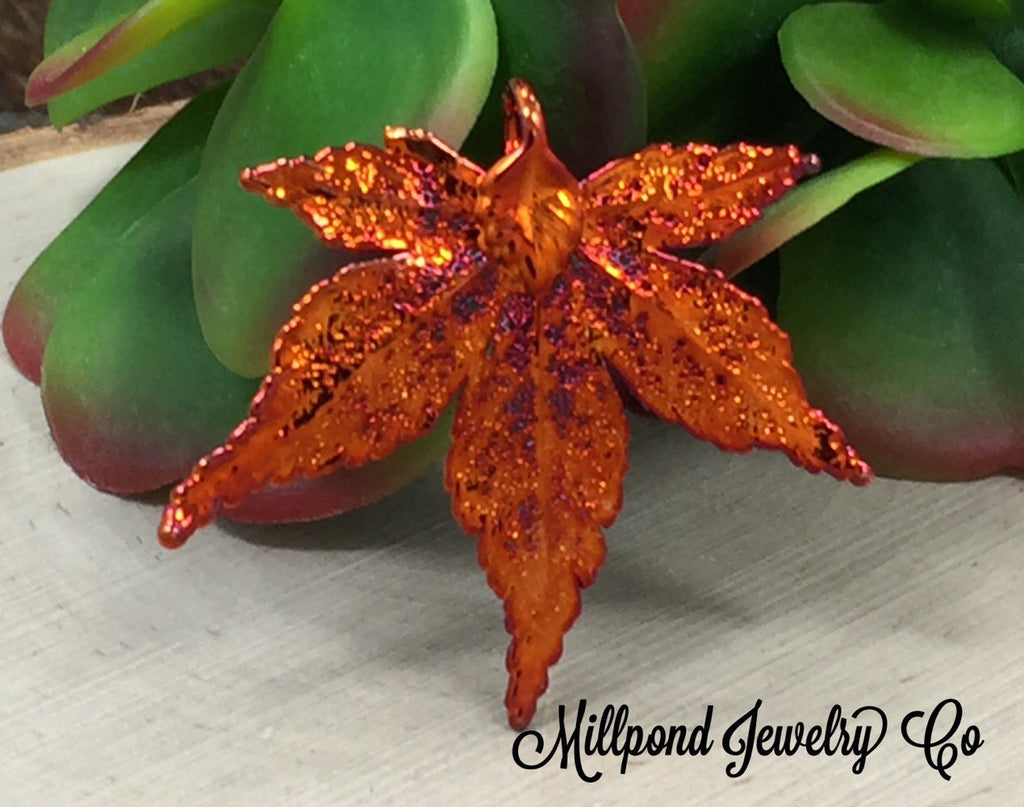 Japanese Maple Leaf Pendant, Copper Dipped Maple Leaf Pendant, Copper Maple Leaf, Leaf Pendant, Earring Size, 1 Piece