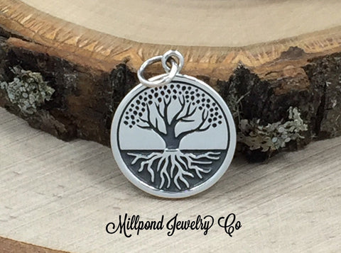 Sterling Silver Charm, Tree With Roots Charm, Tree of Life Pendant, Tree of Life Charm, Family Tree Pendant, Family Tree Charm, PS01460