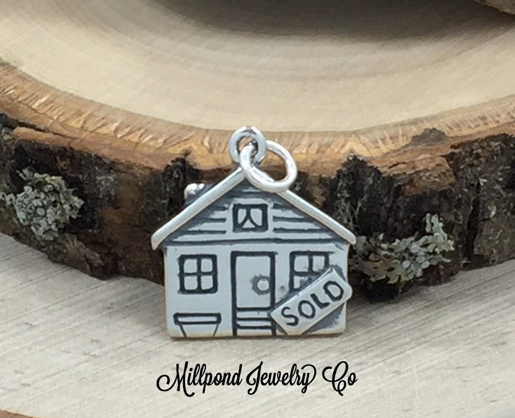 Realtor Charm, House Sold Charm, Real Estate Charm, Realtor Gift, New House Gift, Housewarming Gift, Sterling Silver