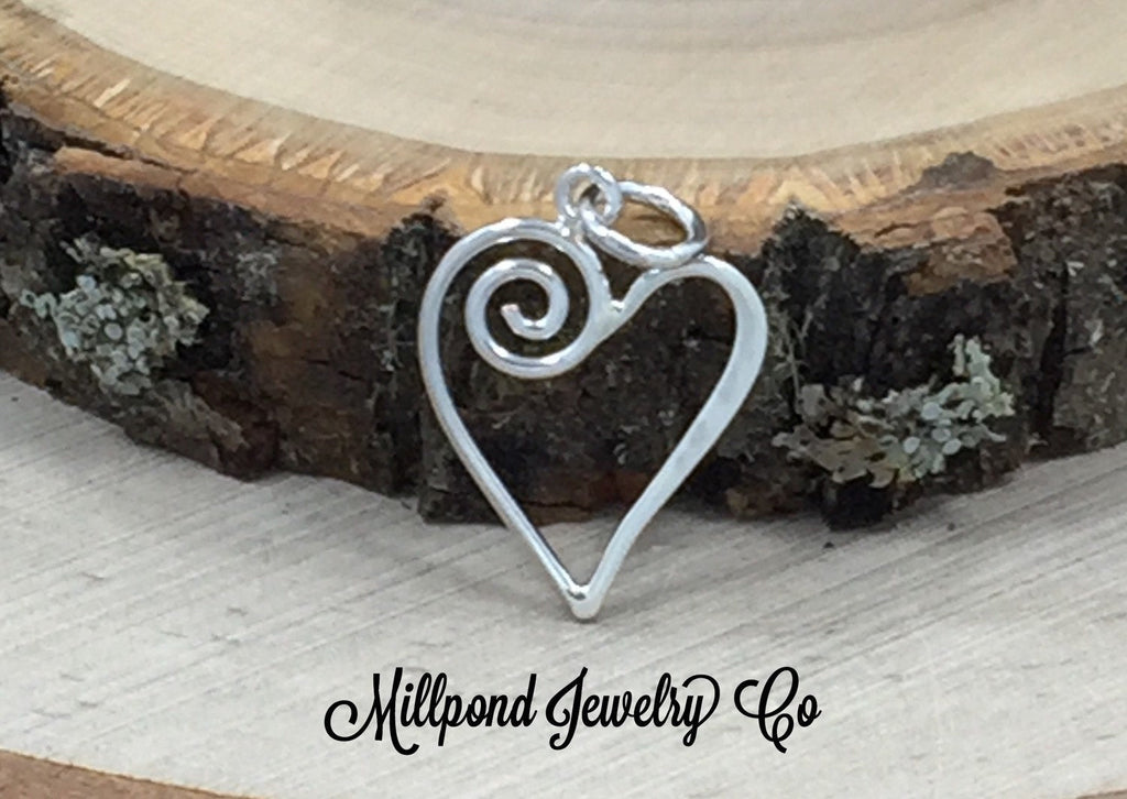 Wire Heart with Swirl Charm, Small Heart Charm, Tiny Heart Charm, Sterling Silver Heart Charm, Scroll Heart, PS01452