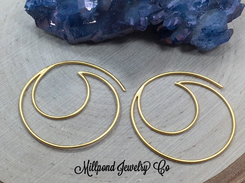 Ear Wires, Gold Plated Sterling Silver Ear Wires, Ear Wires, Earring Components, Jewelry Making Supplies, Jewelry Findings, 1 Pair