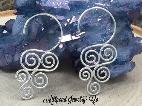 Cascading Swirl Earrings, Ear Wires, Sterling Silver Ear Wires, Jewelry Making Supplies, Jewelry Findings, 1 Pair, PS01462