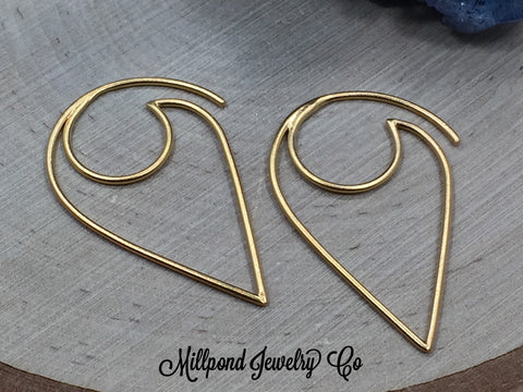 Gold Ear Wires, Gold Plated Sterling Silver Ear Wires, Earwires, Earring Components, Jewelry Making Supplies, Jewelry Findings, 1 Pair