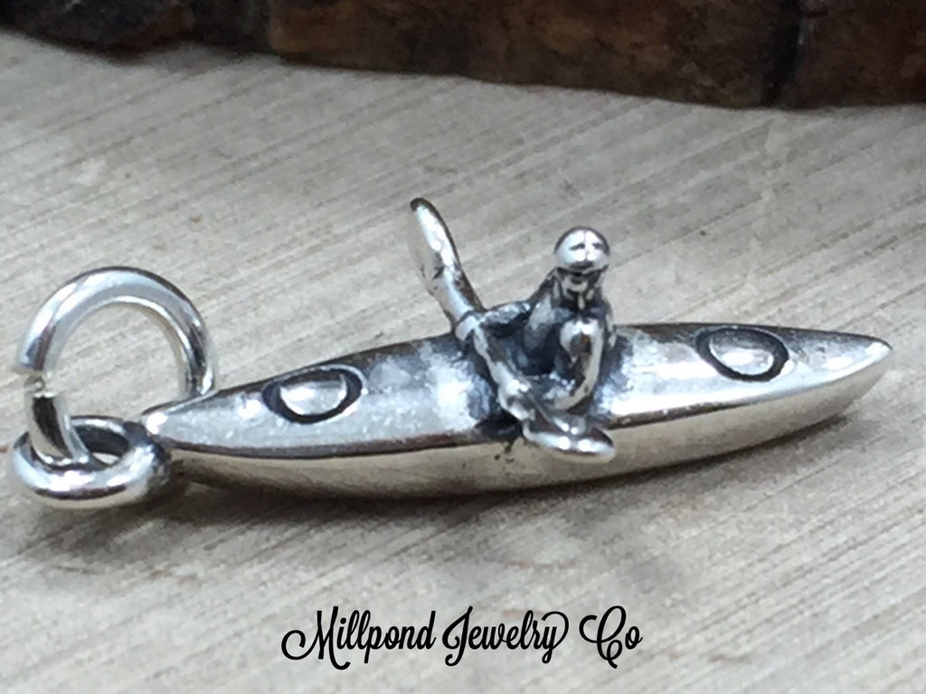 Kayak Charm, Kayaker Charm, Boat Charm, Fisherman Charm, Boating Charm, Ocean Charm, River Charm, Lake Charm, Sterling Silver