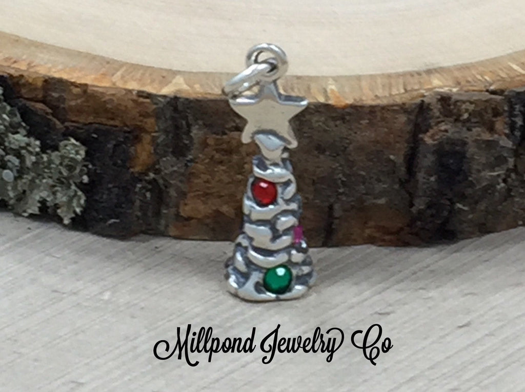 Sterling Silver Christmas Tree Charm, Earring Components, Christmas Charm, Sterling Silver, Winter Charm, Merry Christmas Charm