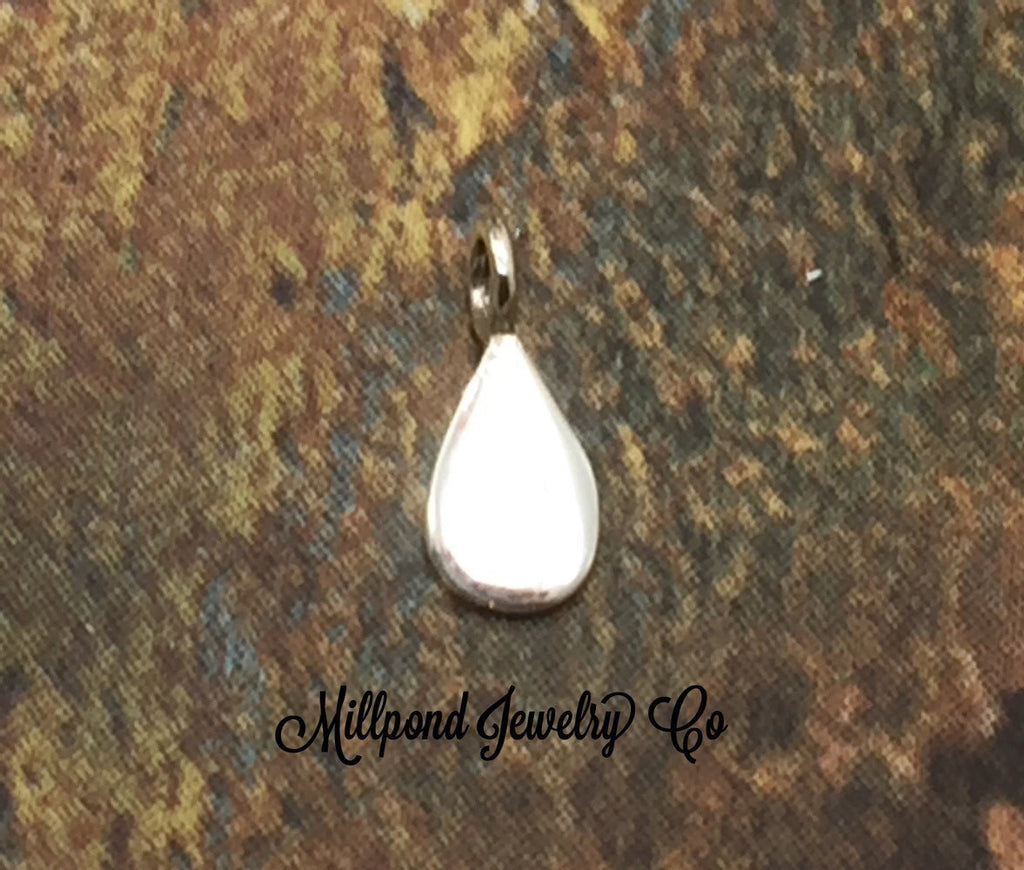 TINY Flat Teardrop Dangle, Small Teardrop Dangle Bead, Teardrop Dangle Bead, Sterling Silver Teardrop Bead, Tiny, 1 Piece, PS01483
