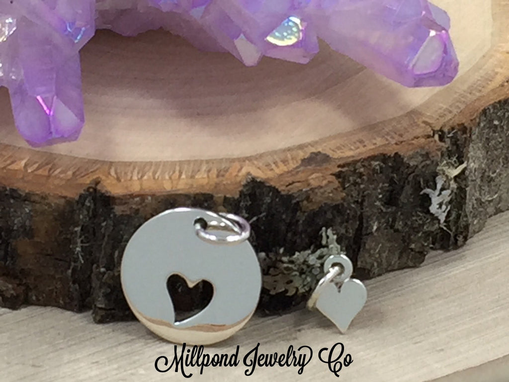 Heart Charm, Heart Pendant, Cut Out Heart Charm, Mother and Child Charm Set, Sterling Silver Heart Charm, Heart Cut Out Charm, PS01476