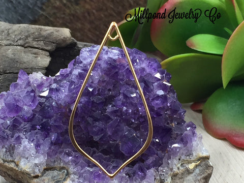 Teardrop Link, Large Pointed Teardrop Link, Gold Teardrop Link, Gold Plated Sterling Silver Charm, Large Size, PG0183