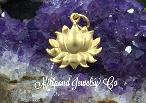 Gold Charms, Lotus Charm, Blooming Lotus Blossom Charm, Lotus Flower Charm, Flower Charm, Gold Plated Sterling Silver Charm, Larger Size