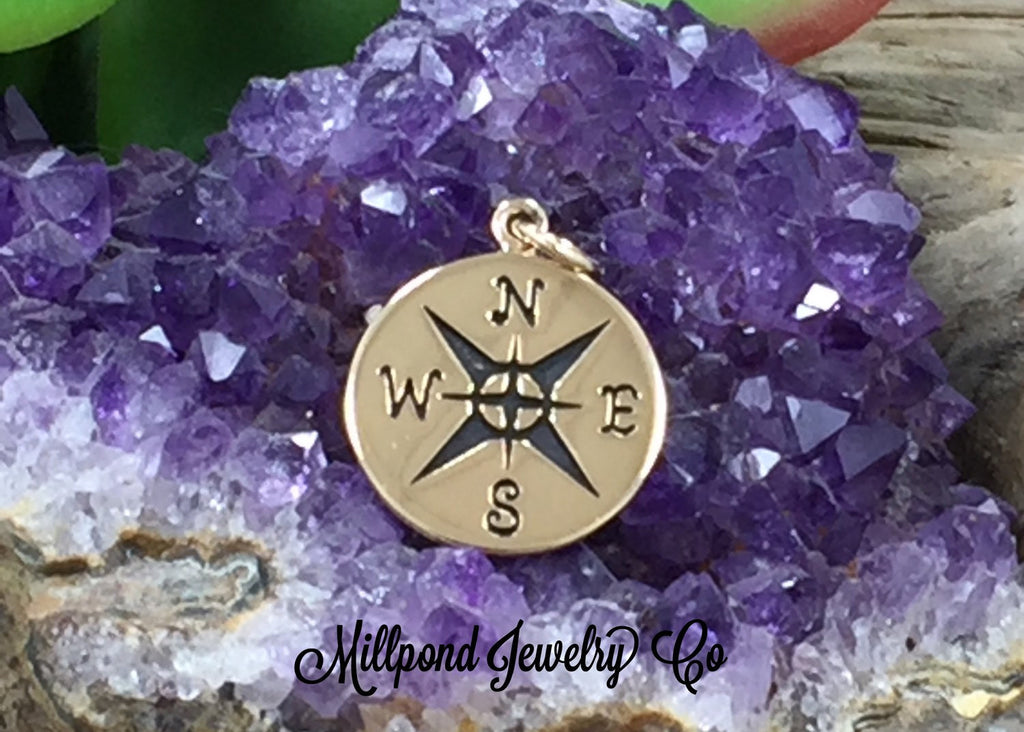 Compass Charm, Compass Pendant, Sterling Silver Charm, Silver Compass, Necklace Charm, Nautical Charm, LARGER Size, PB0175