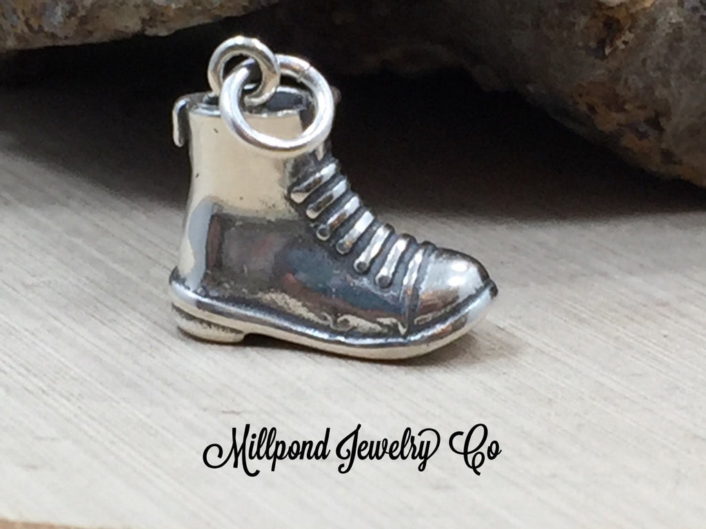 Combat Boot Charm, Boot Charm, Military Boot Charm, Military Work Boot Charm, Sterling Silver Charm