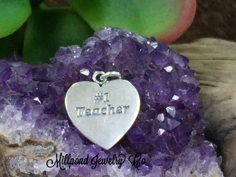 Teacher Heart Charm, #1 Teacher Heart, Favorite Teacher Pendant, Teacher Gift, Sterling Silver, Teacher Charm, Teacher Appreciation