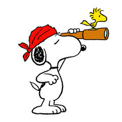 Snoopy dressed as a pirate with Woodstock