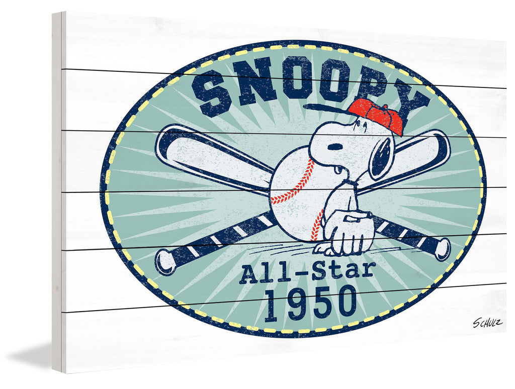 Snoopy plays baseball and he's an all star in this Peanuts wall hanging