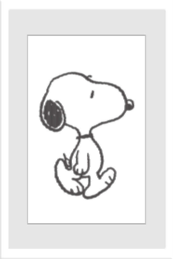 Black and white Snoopy printed on white background