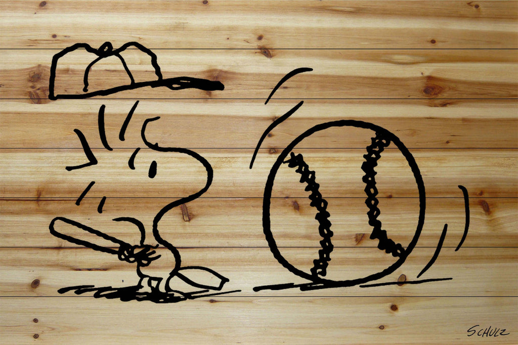 Woodstock swinging a baseball bat printed in black on a natural pine wood backgroung