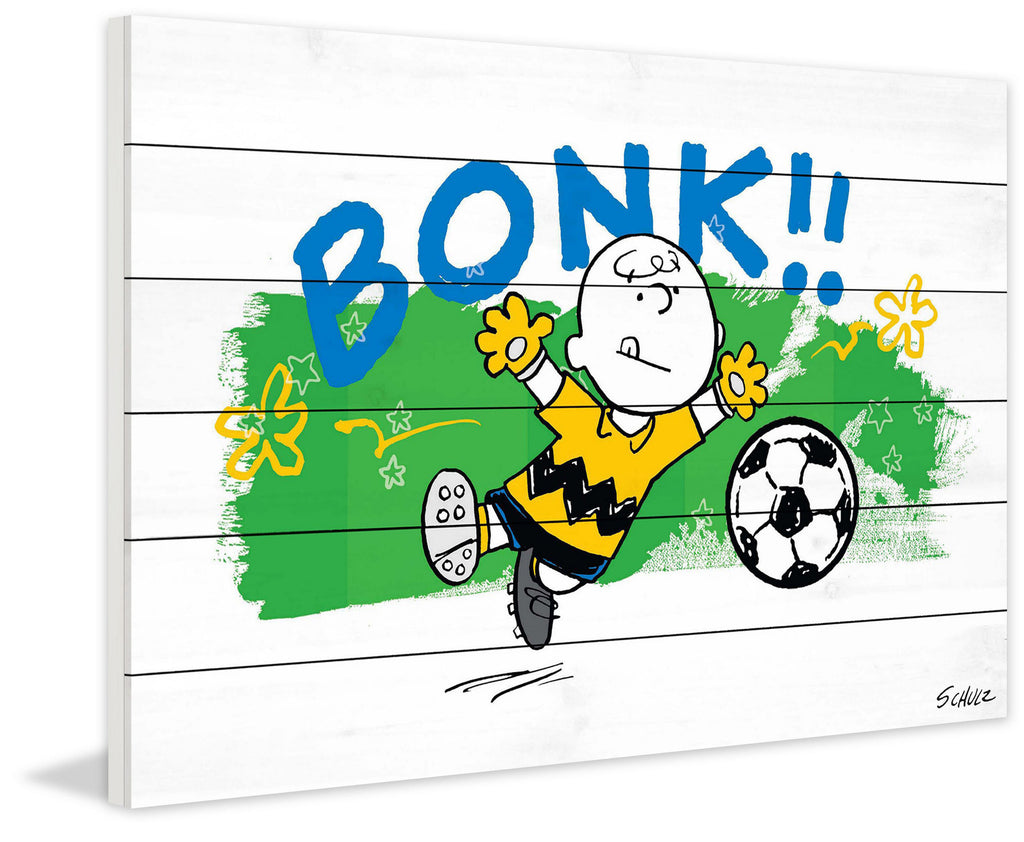 Charlie Brown guards the soccer goal in this Peanuts art