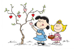 Lucy and Sally hanging hearts on a tree
