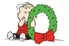 Linus with a christmas wreath