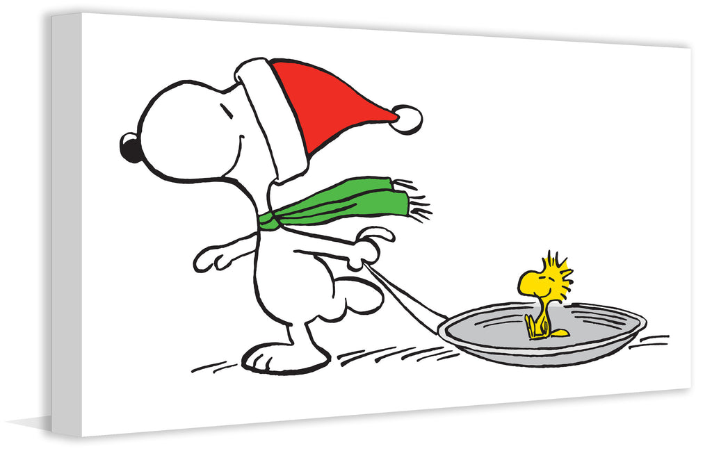 Snoopy and Woodstock Sled in Santa hat