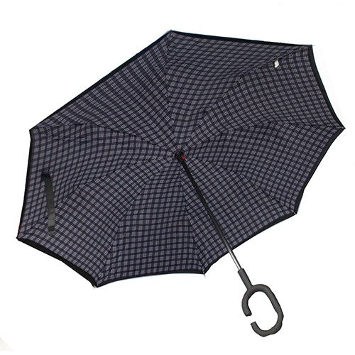 PARAPLUIE LONG RÉVERSIBLE -   Carreaux