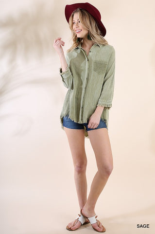 Button up Fray Hem- Olive