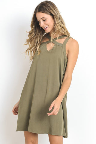 Cut Out Banded Dress- Olive