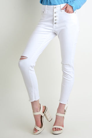 Button Fly White Skinnies